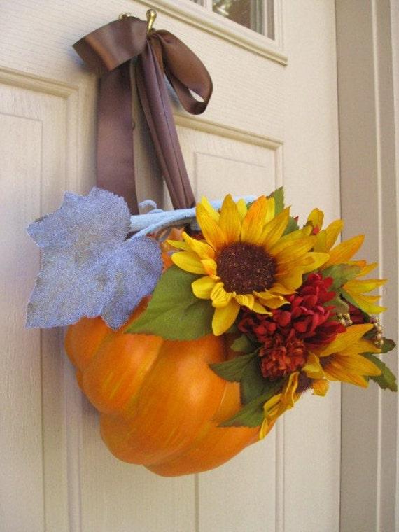 Pumpkin Wreath with Sunflowers and Mums, Fall Wreaths, Thanksgiving Wreaths, Yellow Door Wreath, Autumn Wreaths, Halloween Wreaths