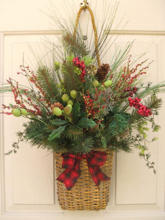 Christmas Wreath Holiday Berries And Pine Wall Basket