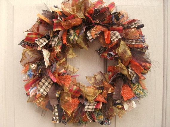 Fall Wreath, Autumn Wreath, Ribbon Wreath, Fabric Wreath, Front Door Wreath, Harvest Decoration, Brown Rust Gold