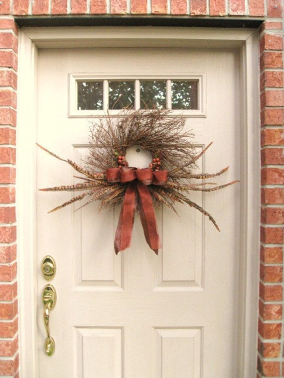 Rustic Wreath with Feathers Pinecones Acorns - Fall Wreaths - Autumn Front Door Wreath - Front Door Decoration - Brown Twig Grapevine Wreath