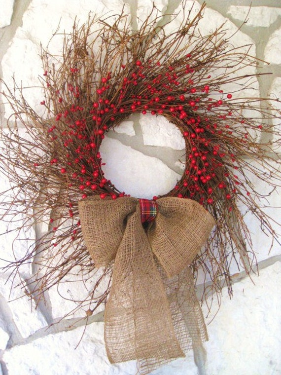 Door Wreath with Burlap and Berries Rustic Wreath, Valentines Day Wreath