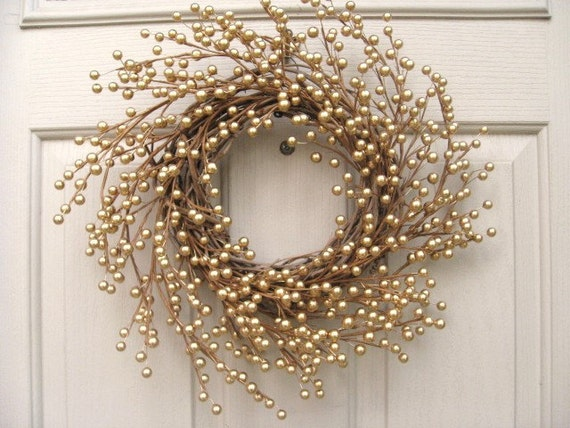 RESERVED For LORA - Holiday Wreath, New Years Wreath, Gold Berry Wreath II for Front Door Decor, Wedding Decor