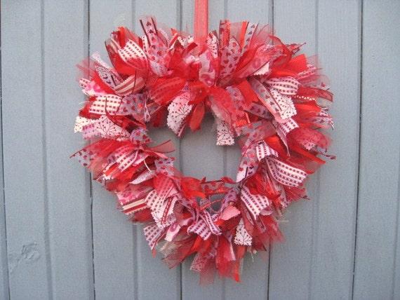 Valentines Day Wreath Heart Ribbon Wreath Ii Fabric Wreath