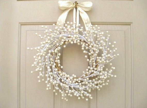 Door Wreath Wedding Wreath Pearl Berry Wreath By