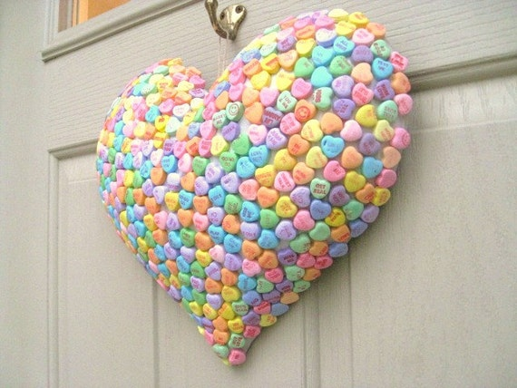 Valentine Decoration - Candy Hearts Puffy Heart Valentines Day Decor