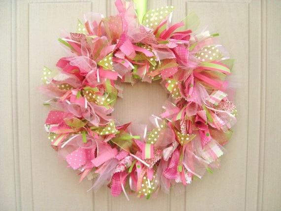 Spring Wreath Cottage Colors Door Wreath Ribbon Wreath