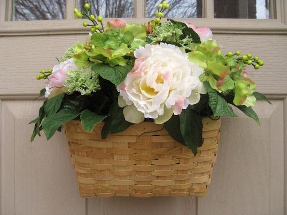 Spring Wreath, Door Wreath, Peony Wreath, Floral Arrangement, English Garden Mix Wall Basket