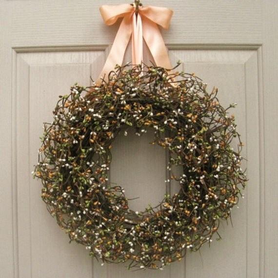 Berry Wreath - Wedding Decoration - Bridal Shower Decor - Peach, Cream, Green Cottage Chic Pip Berry Front Door Wreath