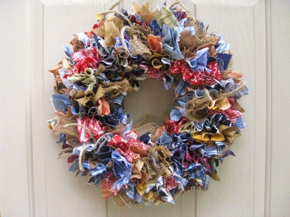 Fabric Wreath, Rag Wreath, Blue Jeans Denim Burlap Bandana Door Wreath, Southwestern Wreath, Cowboy Decor, Rodeo Wreath, Western Decoration