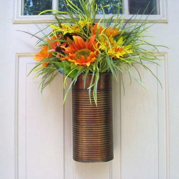 Spring Wreath - Orange Yellow Sunflower Wreath - Front Door Wreath - Outdoor Wreath - Summer Wreath - Floral Wreath
