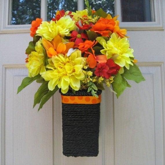 Summer Wreath, Summer Floral Arrangement, Yellow Wreath, Orange Wreath, Summer Floral Mix Wreath Alternative