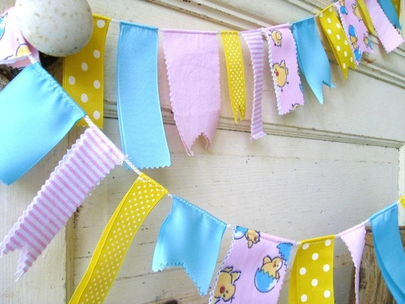 Baby Nursery Decoration, Baby Fabric Garland, Baby Ribbon Banner, Baby Shower Decor, Babys Room, Childs Room Decor, Fabric Bunting
