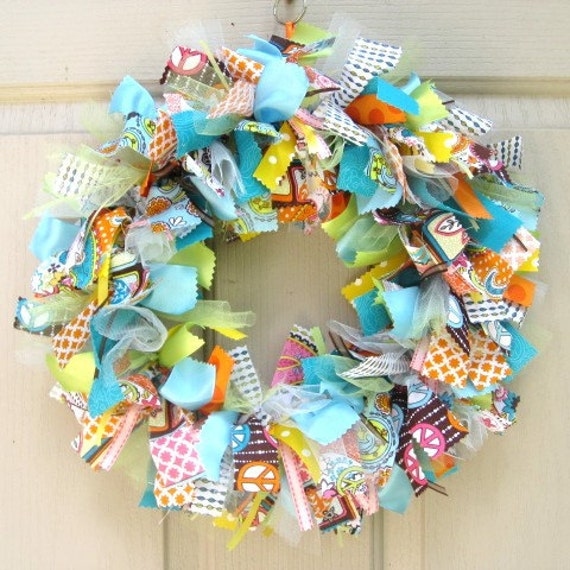 Fabric Wreath, Ribbon Wreath, Retro 60s Look Fabric and Ribbon Wreath for Front Door, Orange, Yellow, Blue, Peace Sign