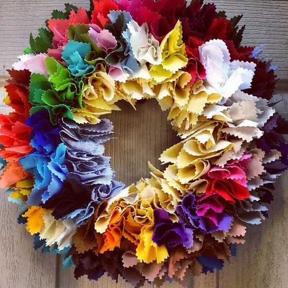 Fabric Wreath, Rainbow Party Decoration, Colors of the Rainbow, Childs Room Decor, Front Door Wreath, Rag Wreath, Classroom Decoration