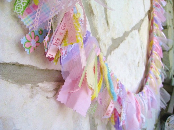 Baby Girl Fabric Garland, Girl Banner, Girls Bedroom Decor, Nursery Decor, Baby Shower Decoration