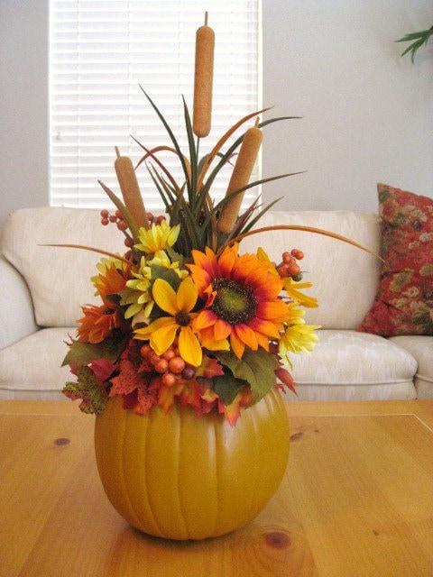 Pumpkin Floral Arrangement Thanksgiving Centerpiece Fall