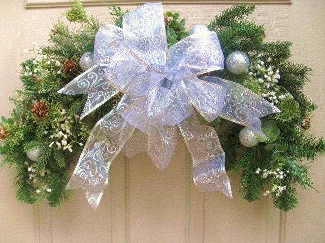 front door wreath winter wedding decor pine swag with. Black Bedroom Furniture Sets. Home Design Ideas