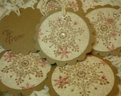 Vintage Inspired Holiday Gift Tags - Snowflake - Set of 6