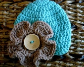 Crocheted Baby Hat 0 - 3 Months - Sea Green with Soft Taupe Pansy Flower -Ready to ship