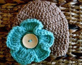 Crocheted Baby Hat 0 - 3 Months - Soft Taupe with Sea Green Pansy Flower -Ready to ship