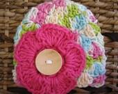 Crocheted 100% Cotton Baby Flower Cap - Newborn - Pink Variegated