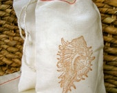 10 Cotton Drawstring Muslin Favor Bags - Seashell