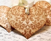 Vintage Inspired Love/Wedding Wish Tags - Heart - Tapestry Pattern - Set of 5