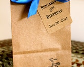 Personalized KraftSMALL Favor Bags  & Tags  -  Set of 10  - Tricycle - Four Bag Sizes Available - You Choose Ribbon Color