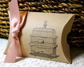 Birdcage Pillow Boxes  -  Set of 10  - You choose ribbon color