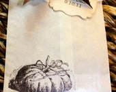 Pumpkin Glassine Favor Bags & Tags - 4 1/2 x 6 3/4 - Personalized - You choose ribbon color