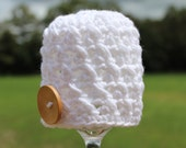 Crocheted Baby Button Cupcake Hat - Newborn - White