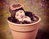Crocheted Sunflower Baby Hat - Newborn 0-3 Months - Brown With Gold or Orange Sunflower