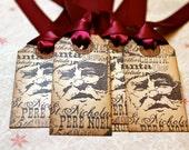 Vintage Inspired Holiday Gift Tags - Santa - Set of 5