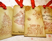 Vintage Inspired Holiday Gift Tags  - Vintage Mix - Set of 4