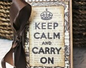 Altered Mini Composition Journal Notebook - Vintage Style - Keep Calm & Carry On