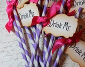 DRINK ME - Purple & White Swizzle Straws and Tags - Set of 12 - You Choose Ribbon Color