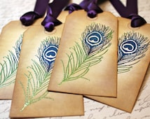 Vintage Inspired Embossed Peacock Feather Tags - Set of 5 - You choose ribbon color