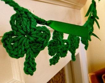 Crocheted St. Patty's Day Shamrock Garland