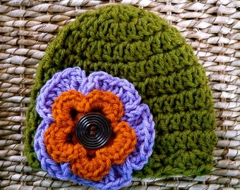 Crocheted Chunky Baby Hat 3-6 Months - Olive Green with Lavender & Pumpkin Flower-Ready to ship