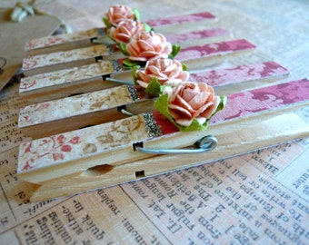 Shabby Chic Designer Pegs - Pink - Set of 5