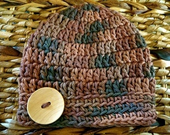 Crocheted 100% Cotton Baby Button Hat - 0-3 Months - Brown - Ready to Ship