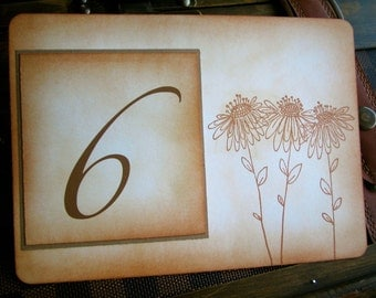 Vintage Inspired Table Number Card - Daisies