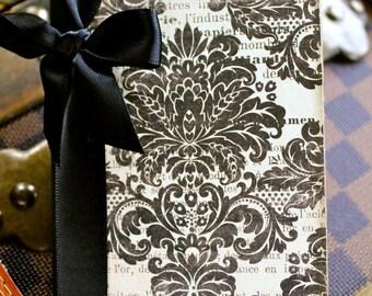 Altered Mini Composition Journal Notebook - Damask - Vintage France