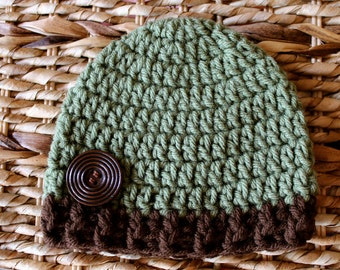 Crocheted Baby Button Hat - Newborn 0-3 Months - Green and Brown