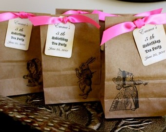 SET OF 10 - Alice in Wonderland Party Favor Bags - Four Bag Sizes Available - You Choose Ribbon Color