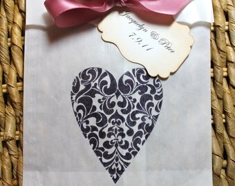 Ornate Heart Glassine Favor Bags & Tags - 4 1/2 x 6 3/4 - SET OF 5 - Personalized - You choose ribbon color