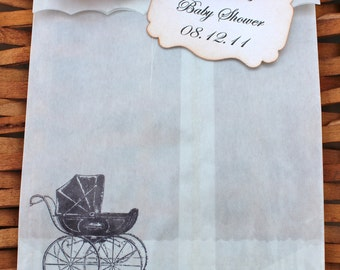 Baby Carriage Glassine Favor Bags & Tags - 4 1/2 x 6 3/4 - Personalized - SET OF 5 - You choose ribbon color