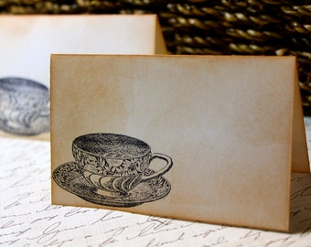 Vintage Inspired Tea Cup Place Cards - Set of 6 - Can be Customized