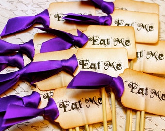 "Vintage Inspired ""Eat Me"" Cupcake Toppers - Set of 12 - You Choose Ribbon Color"