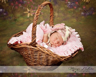 Crocheted Earflap Hat - Newborn 0 - 3 Months - Pink/Brown/Cream - Ready to ship